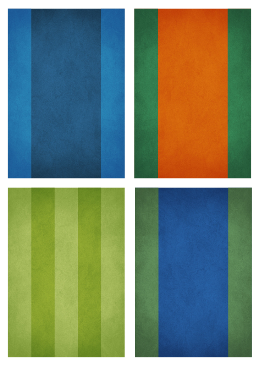 Abstract art prints representing the four tennis Grand Slams